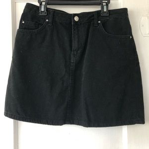 H&M Black Denim Mini Skirt
